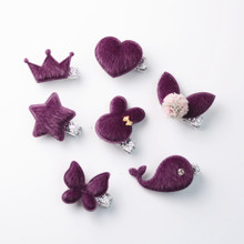 2017 New Creative Cute Purple Plush Rabbit Crown Kids Hairpins Barrettes Children Hair Accessories Girls Hair Clips