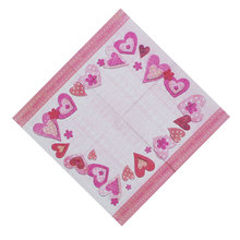 Napkins paper tissue towel pink red  hearts I love you flower pattern decoupage crafts wedding birthday party cafe decorcup mat