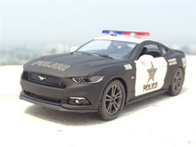 1:38 Mustang GT Police Alloy Diecast Model Car Pull Back Vehicle Toy Collection As Gift For Boy Children