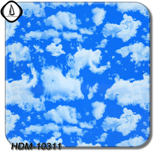 DIY Hot Sales HDM10311 1M Width 10M Length Blue Sky White Clouds Pattern Hydrographic Dipping Water Transfer Aqua Printing Film