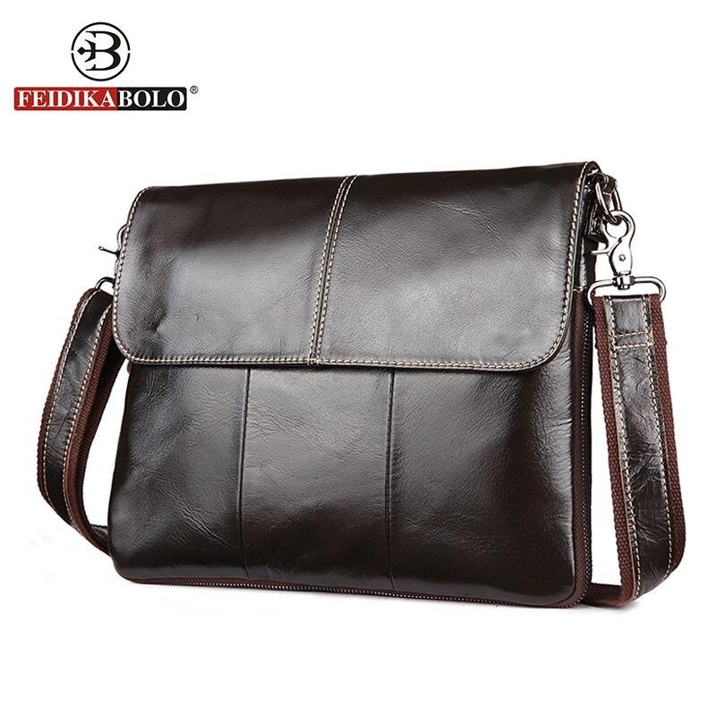 FEIDIKA BOLO Brand Men Messenger Bags Genuine Leather Bag Men Shoulder Bags Male Satchels Vintage Crossobody Bag for Men Handbag<br>