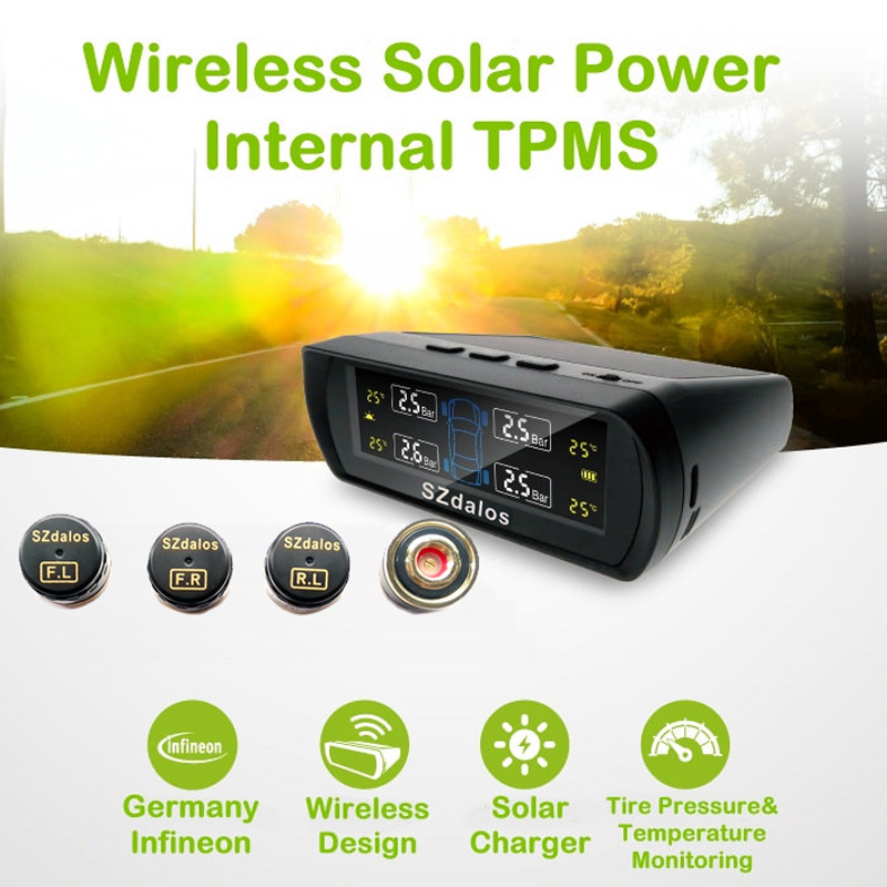High-grade Solar Power TPMS  Tire Pressure Monitoring System,  tyre pressure Diagnostic-tool<br><br>Aliexpress