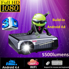 Full HD 1080P 5500lumens Android4.4 wifi LED Projector 4000:1 Smart Digital Video TV home theater Proyector Beamer Free shipping