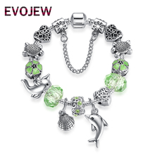 Luxury Gift 925 Vintage Silver Animal Seashells Dolphin Charm Bracelet for Women Original DIY Green Glass Beads Jewelry(China)