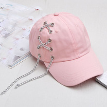 2017 Fashion Male Bones Cotton Hat Hip-hop Summer Iron Chain Snapback Curved Baseball Caps Black Pink Women Hat