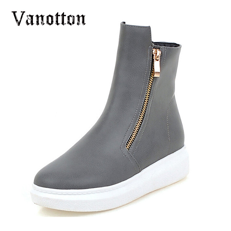 Woman Double Zip Boots PU Leather Shoes Woman Wedge Short Plush Anti-Slippy Autumn Winter Short Ankle Boots<br><br>Aliexpress