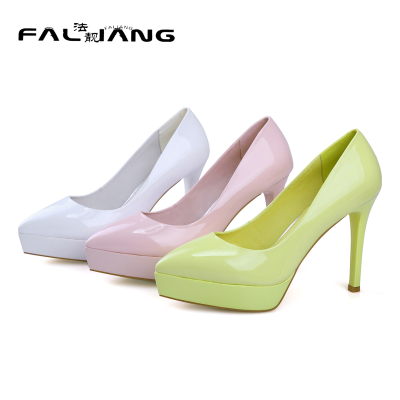 Genuine Leather Big Size 11 12 Office Lady Platform Shoes Pointed Toe Thin Heels Women Woman Las Womens