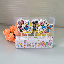 5pcs/lot Mickey Minnie Mouse Candles Baby Party Supplies Kids Birthday Evening Party Decorations Birthday Party Cake Candles