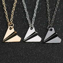 1D One Direction Necklace Paper Airplane Plane Pendant Jewelry Men Women Silver Gold Black Gun Color Fashion Jewelry Wholesale
