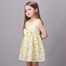 2016 New Fashion Summer Autumn Girls Dresses Little Girl Prom Dress Baby Girls Sunflower Clothing Child Clothes Daisy Dress