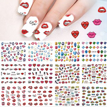 SWEET TREND 12 Designs Sexy Lips/Gem Pattern Decals Nail Art Water Transfer Stickers Beauty Manicure Nail Art Decor LABN577-588