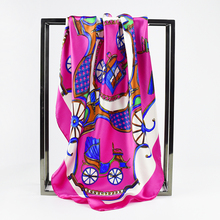 Luxury Square Scarves for Women Euro Brand Royal Horse Carriage Brand Designer Scarf Satin Bandana Gift Hijabs