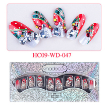 Free Shipping 24pcs Christmas Nail Art Tips Round Red Rhinestone Artifica Nail Tips Heart Crystal Diamond Nail Decoration #47