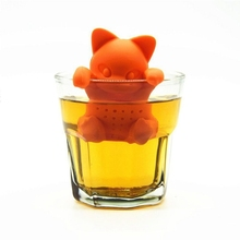Silicone Tea Strainer Cute Cartoon Cat Shaped Tea Infuser Food Grade Loose Leaf Herbal Spice Brewing Tool Orange Animal Tea Ball(China)