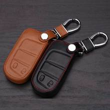 Leather  Key Case For Jeep Chrysler 300C Compass Grand Cherokee Wrangler Patriot Dodge Journey Keychain For Keys Car Key Bag