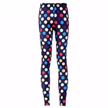 New 3373 Sexy Girl Slim Ninth Pants Colorful Rainbow Spot Polka dot Printed Stretch Fitness Women Leggings Plus Size(China)