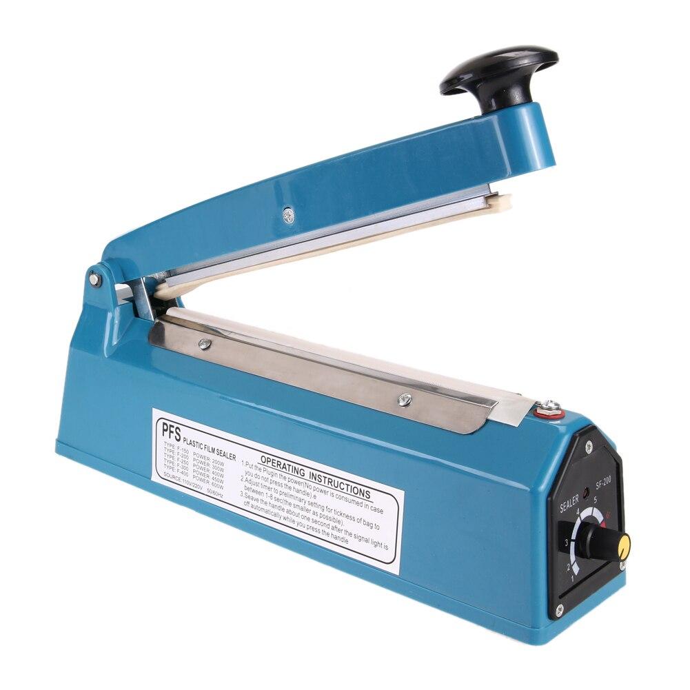 8 110V 300W Manual Plastic Film Sealer Heat Impulse Sealer Poly Bag Plastic Film Sealing Machine for Home Kitchen<br>