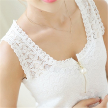 2016 New Fashion Summer Style Pluse size Lace Patchwork Hollow Out Sleeveless shirt Women White Ladies Tops S-XXXXL ZY1531(China)