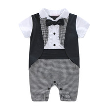 Baby Boy Formal Party Christening Wedding Tuxedo Waistcoat Bow Tie Suit Checked Tie Short Sleeve Baby Boy Rompers Handsome Boy