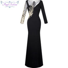 Angel-fashions Women's Long Sleeves Embroidery Hollow Out See through Floor Length Evening Dress Black