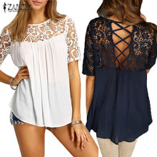 2017 ZANZEA Elegant Women Blouses Lace Crochet Splice Shirts O Neck Short Sleeve Hollow Out Casual Loose Blusas Sexy Tops