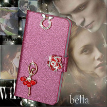 Luxury PU Leather Wallet Case For Explay RIO Flip Cover Shining Crystal Bling Case with Card Slot & Bling Diamond