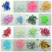 Wholesale 6mm/100pcs DIY Half Round Pearl Bead Flat Back Scrapbook For Craft Pick Colors(China)