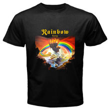 2017 New Arrival Funny Design T Shirts Casual Cool New RAINBOW Rising Blues Rock Band Legend Men's Black T-Shirt Size S to 3XL