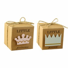 50pc/Lot Little Prince Princess Square Kraft Paper Wedding Favors Baby Shower Candy Boxes Party Gift Box With Hemp Ropes(China)