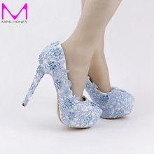 Blue Lace Prom Shoes Handmade Rhinestone Bridal Dress Shoes Platform Formal Shoes 5.5 Inches Comfortable Wedding Party Pumps