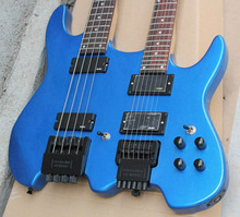 Blue guitar,Steinberg style headless  double neck guitar,Chinese electric guitar