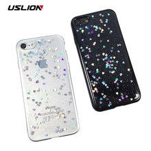 Buy USLION Glitter Bling Love Heart Phone Case iPhone 8 8 Plus Cute Star Soft TPU Clear Back Cover Cases Capa iPhone8 for $1.40 in AliExpress store