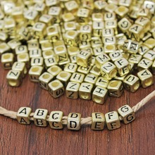 Bulk Wholesale 200pcs Gold Alphabet Letter DIY Loose Spacer Beads for Handmade Beading Bracelet Necklace Jewelry Making Craft(China)