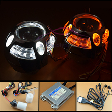 3.0 inch Bi xenon Lens Projector Headlight With LED DRL Turn Signal Lamp Switchback Angel Eyes Kit For Car Headlamp Retrofit