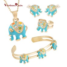 Lovely Gold Color Blue Thai Elephant Pendant Stud Earring Adjustable Bracelete Ring Jewelry Set For Baby Boy&Girl Kids Gift A728(China)