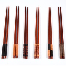 Elegant 6 Pairs Japanese Style Natural Handmade Wooden Chopsticks Set Value Pack Gift Cooking Tableware Durable High Quality