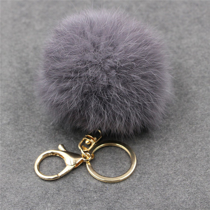 8CM Fluffy Pompom Real Rabbit Fur Ball Key Chain Women Trinket Pompon Hare Fur Toy keyring Bag Charms Ring Keychain Wedding Gift (15)