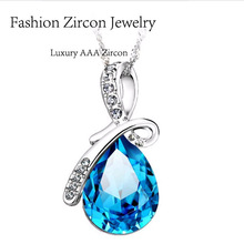 EBAY Hot Sell Austrian Crystal waterdrop Pendants Necklaces, 925 Sterling Silver Fashion Women Wedding Accessories FN06