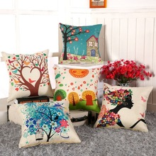 Home Supplies Digital Printing Flower Cotton Linen Square Sofa Cushion Cover Throw Pillow Case Decorbox(without pillow Core)(China)