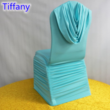 Tiffany colour universal lycra chair covers ruffled top cover chair spandex pleated luxury wedding decoration wholesale