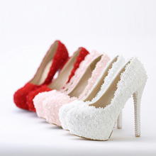 White flowers, lace waterproof desk, high-heeled Pearl Wedding Shoes, bridal , pointed , red shoes, women's shoes(China)