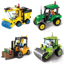 Enlighten Construction Road Roller Forklift Truck Tractor Sweeper Truck Building Blocks Kids Toy Compatible With Lego City 60072
