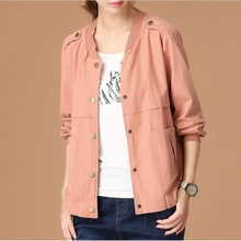 Womens Spring Autumn Casual Jackets Ladies Cotton Spliced Pocket Jacket Women Long Sleeve Pink Basic Bomber Jacket Coat Outwear