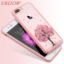 Phone Case For iPhone 4 4s 5 5s 5C 6 6s 6s Plus 7 7 Plus Cartoon Cherry Tree Flowers Cat Pattern Acrylic Mobile Phone Case Shell