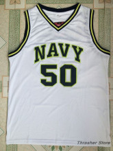 The Admiral David Robinson Navy/White Stitched Basketball Jersey Sewn Camisa Embroidery Logos