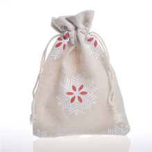 Snowflake Pattern Cotton Bags Sack Wedding Favor Drawstring Gift Incense Storage Linen Bag Keychain Coins Jewelry Packaging Bags(China)