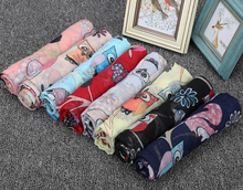 2017 New Arrivl Cartoon Owl Print Shawls Scarf Cotton Voile Scarves For Women Headscarf Long 180*90CM Handmade Clothing 10pcs