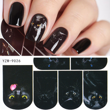 YZWLE 1 Sheet Nail Art Stickers Animal Pattern 3D Mysterious Black Cat Designs Water Transfers Decals DIY Decoration Accessories
