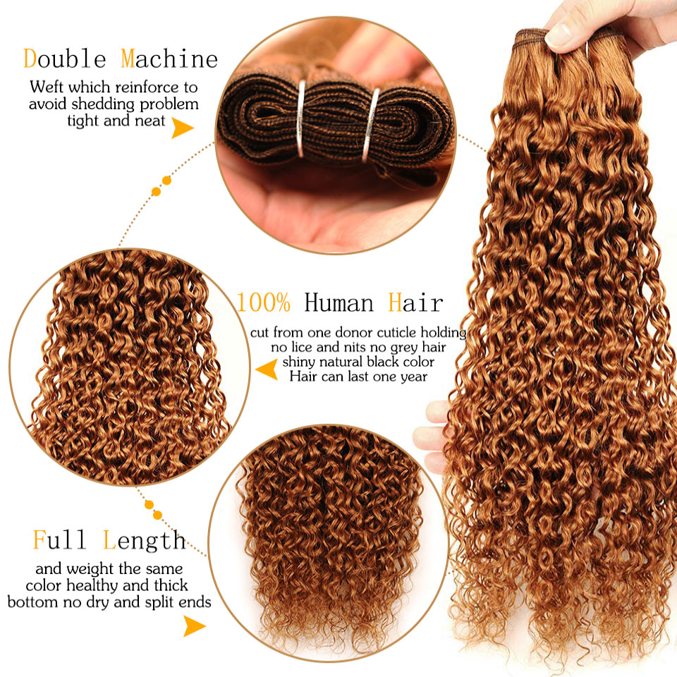 Pinshair Pre-Colored 10-26 Non-Remy Brazilian Jerry Curly Color 30 Hair Weave 4 Bundles 400GPack 100% Human Hair  Thick Wefts (9)