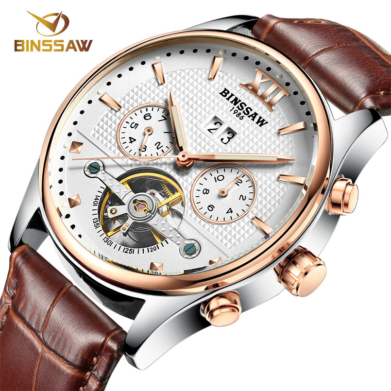 BINSSAW Waterproof Mens Watch Fashion Automatic Mechanical Men Watch Tourbillon Leather Luxury Brand Sport Watch Men Male Clock<br><br>Aliexpress